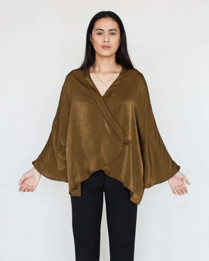 Maryam Wrap Top in Olive
