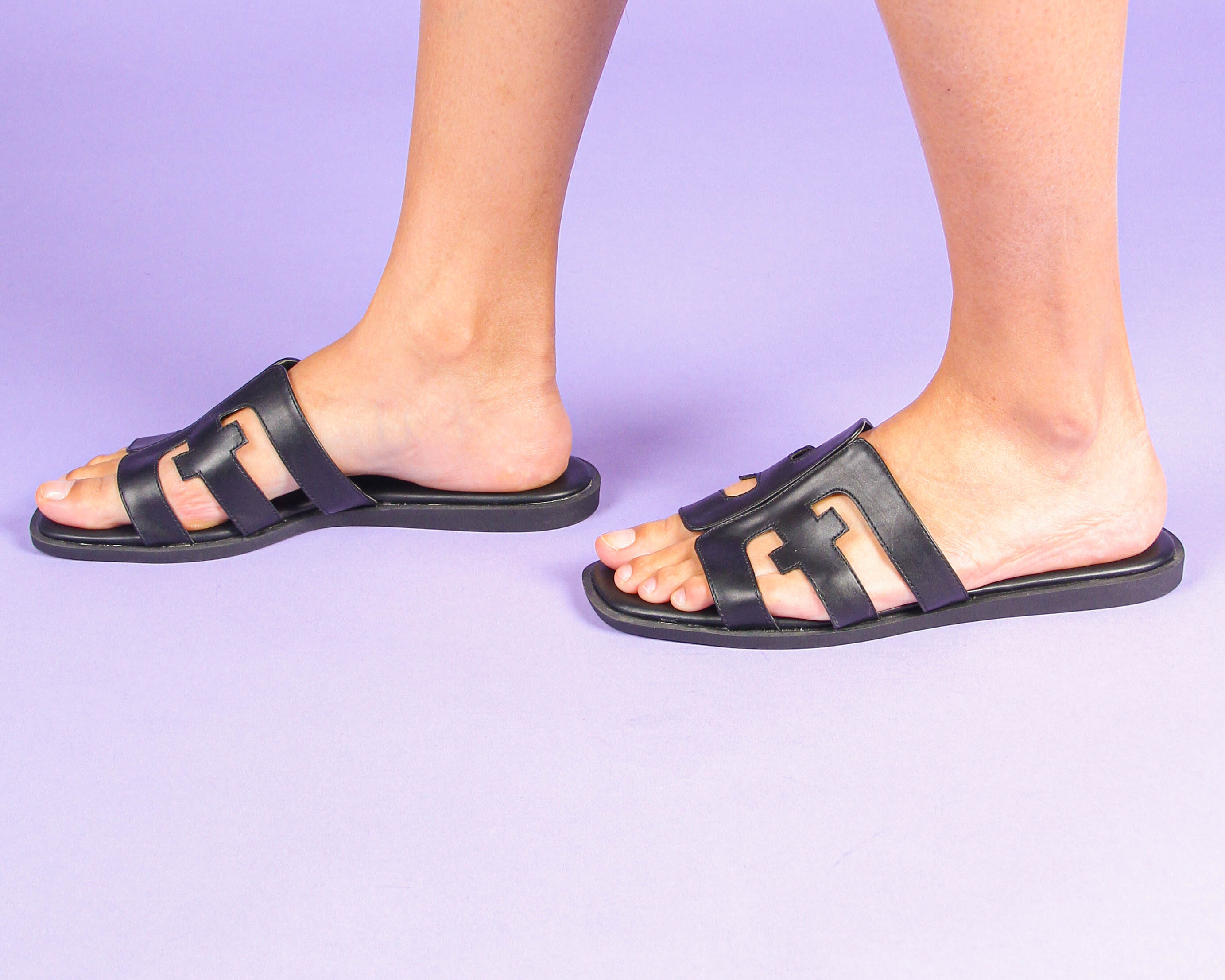 T-Bar Sandals in Black