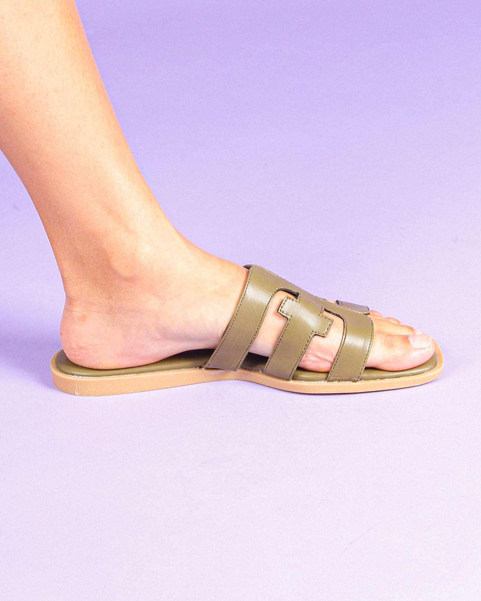 T-Bar Sandals in Olive