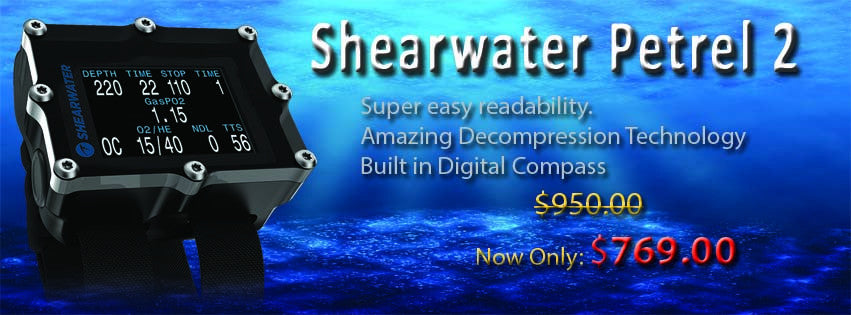 Shearwater Petrel 2 Dive Computer On Sale Now