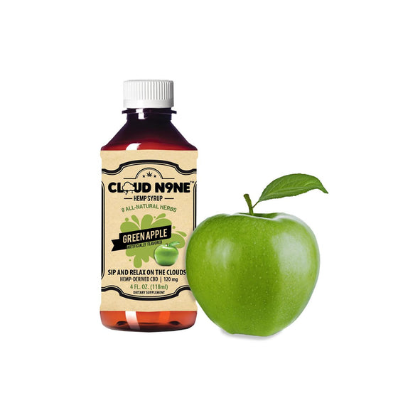 CLOUD N9NE SYRUP - Green Apple - (120mg CBD per Bottle -  Helps relieve mild pain, stress, anxiety, insomnia and much more)
