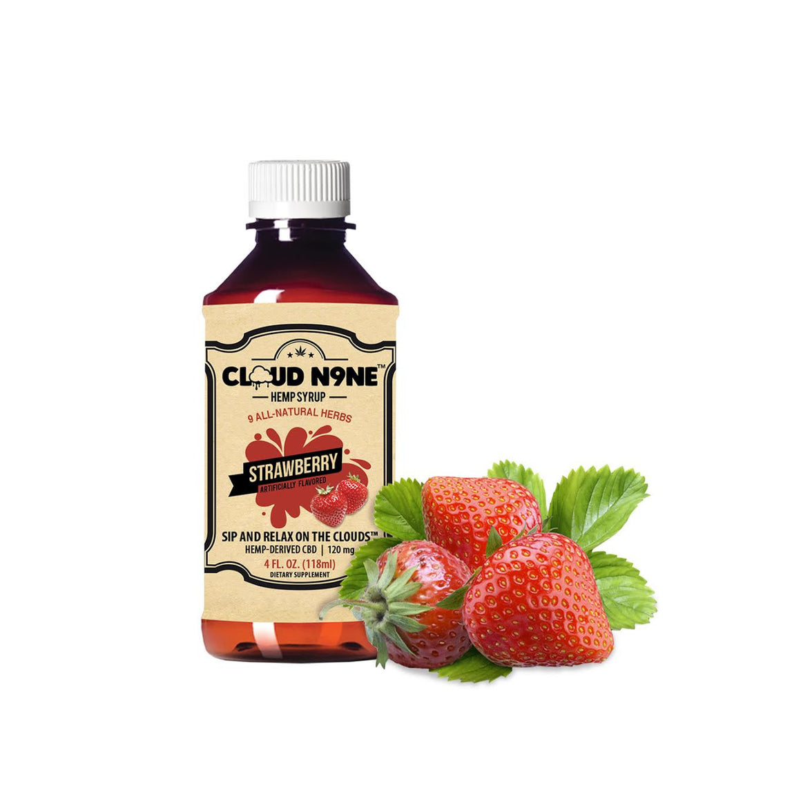 CLOUD N9NE SYRUP - Strawberry - 120mg CBD per Bottle -  Helps relieve mild pain, stress, anxiety, insomnia and much more)
