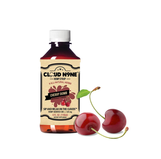 CLOUD N9NE SYRUP - Cherry Bomb - (120mg CBD per Bottle - Helps relieve mild pain, stress, anxiety, insomnia and much more)