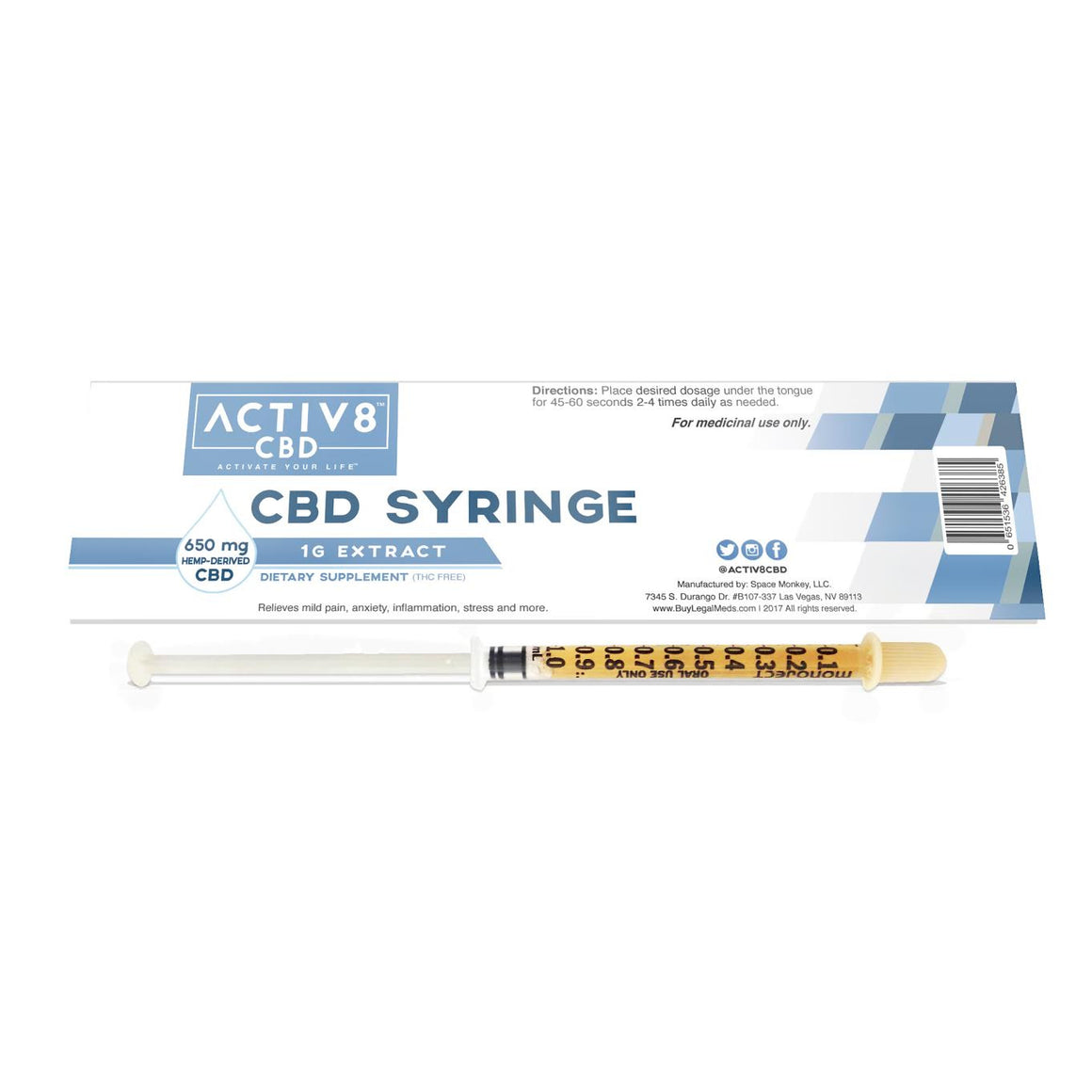 ACTIV8 CBD SYRINGE - (650 mg / 1 Gram CBD Per Syringe - 21+ Servings) - Helps Relieve Mild Pain, Stress, Anxiety, Inflammation, Fibromyalgia and More