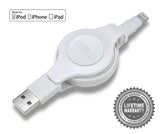 Apple Certified Retractable Lightning Cable | Charge and Sync Lightning® to USB - 3.5 Feet | White