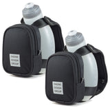 NGN Sport® - Running Water Bottle Handheld | Hydration Bottle & Pack with Zippered Pocket - 10 oz | Black (2-Pack)