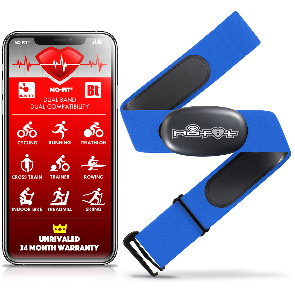 Mo-Fit Heart Rate Monitor Chest Strap for Garmin, Apple, Android, Peloton, Zwift, ANT+ and Most Bluetooth 4.0 Enabled Fitness Devices
