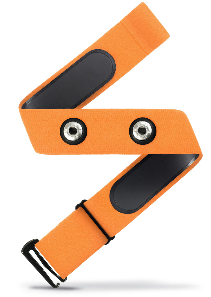 HRM Soft Strap | Universal Replacement for Mo-Fit, Most Garmin, & Select/ Legacy Polar & Wahoo HRM Transmitters | Orange (M-XXL)