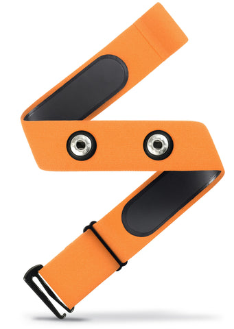 HRM Soft Strap Replacement | Universal Replacement for Mo-Fit, Most Garmin, and Many Polar, and Wahoo HRM Transmitters | Orange (M-XXL)