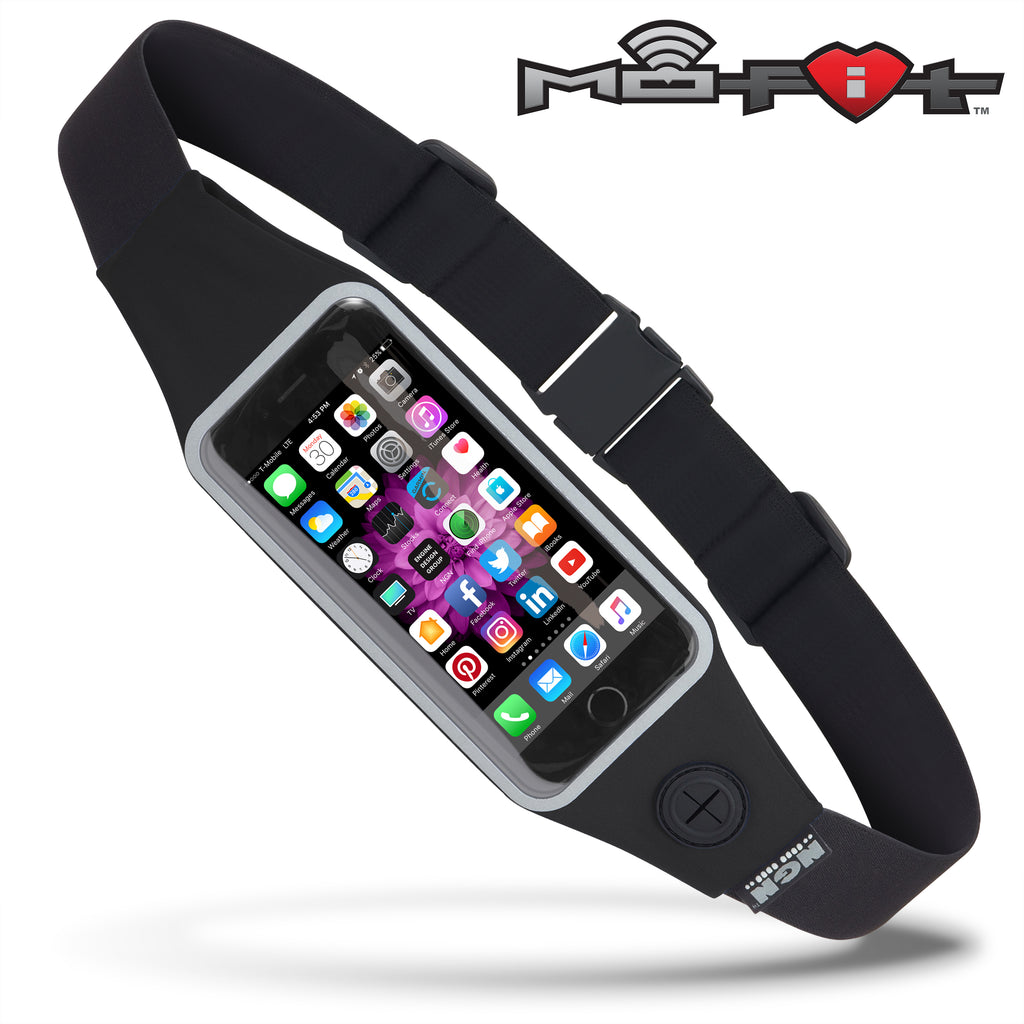 Mo-Fit® Waist Pack / Running Belt for iPhone, Android and most Smartphones | Black