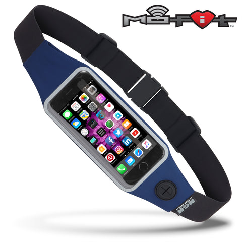 Mo-Fit® Waist Pack / Running Belt for iPhone, Android and most Smartphones | Navy Blue