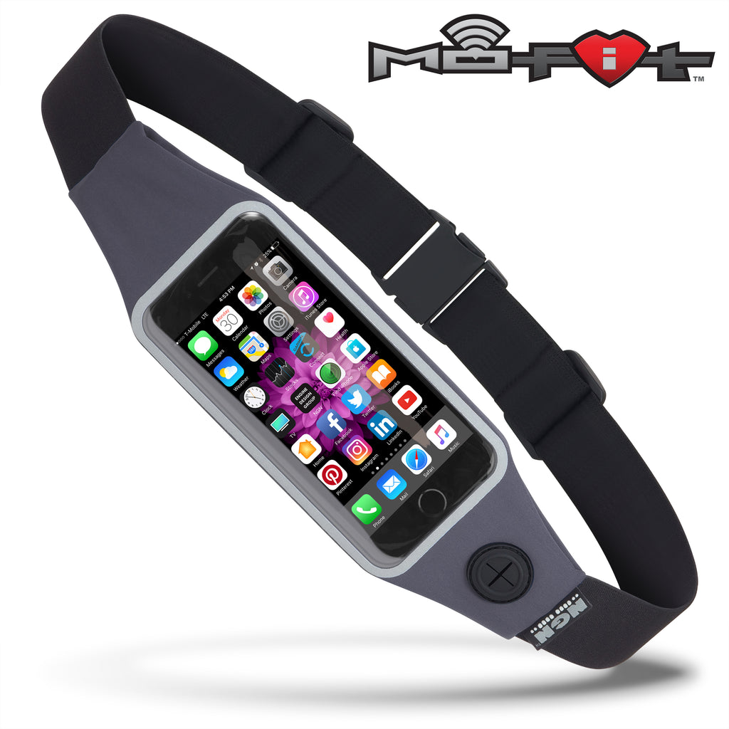 Mo-Fit® Waist Pack / Running Belt for iPhone, Android and most Smartphones | Steel Gray