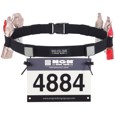 NGN Sport - Race Number Belt for Triathlon, Marathon, Running, Cycling - 10 Gel Loops | Black