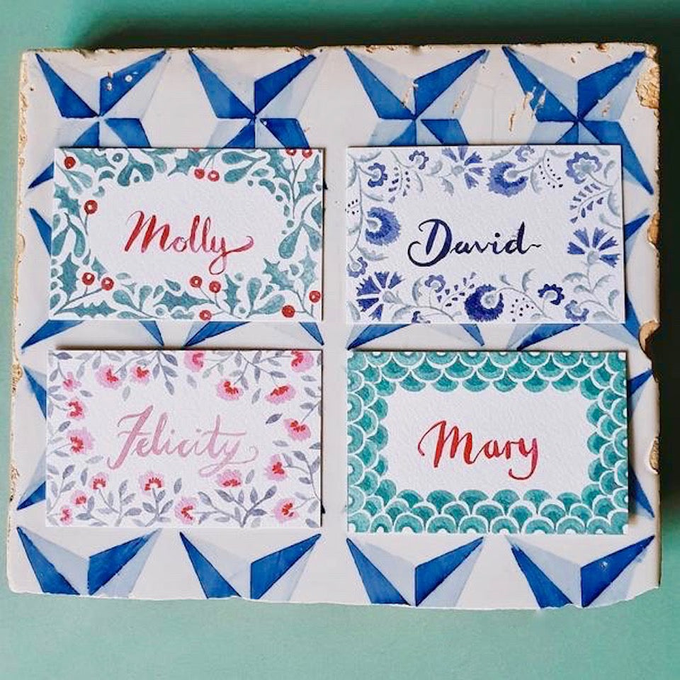 Paper Place Cards - Blue Bowl