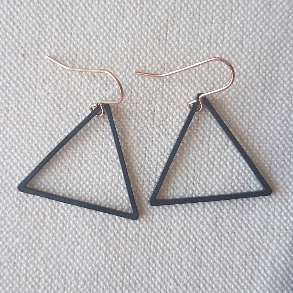 Black Triangle Earrings - Blue Bowl