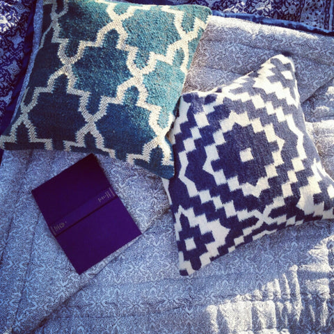 Blockprint Cotton Quilt - Blue Bowl