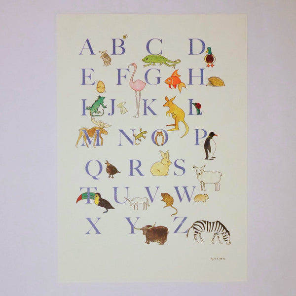 Animal Alphabet Print - Blue Bowl