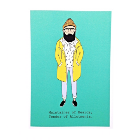 Beards and Allotments Card - Blue Bowl