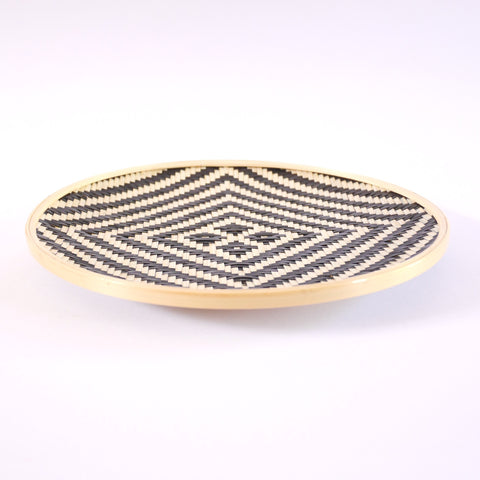 Geometric Bamboo Plate - Blue Bowl