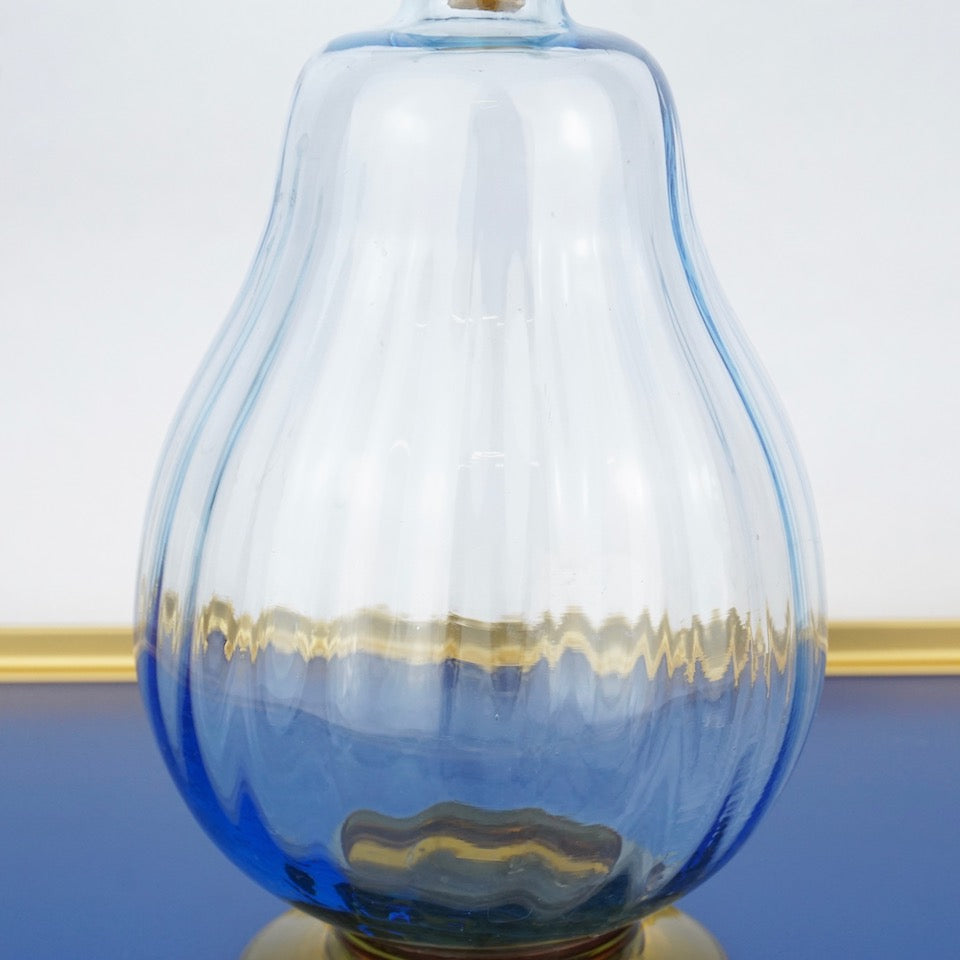 Vintage Blue & Yellow Glass Decanter