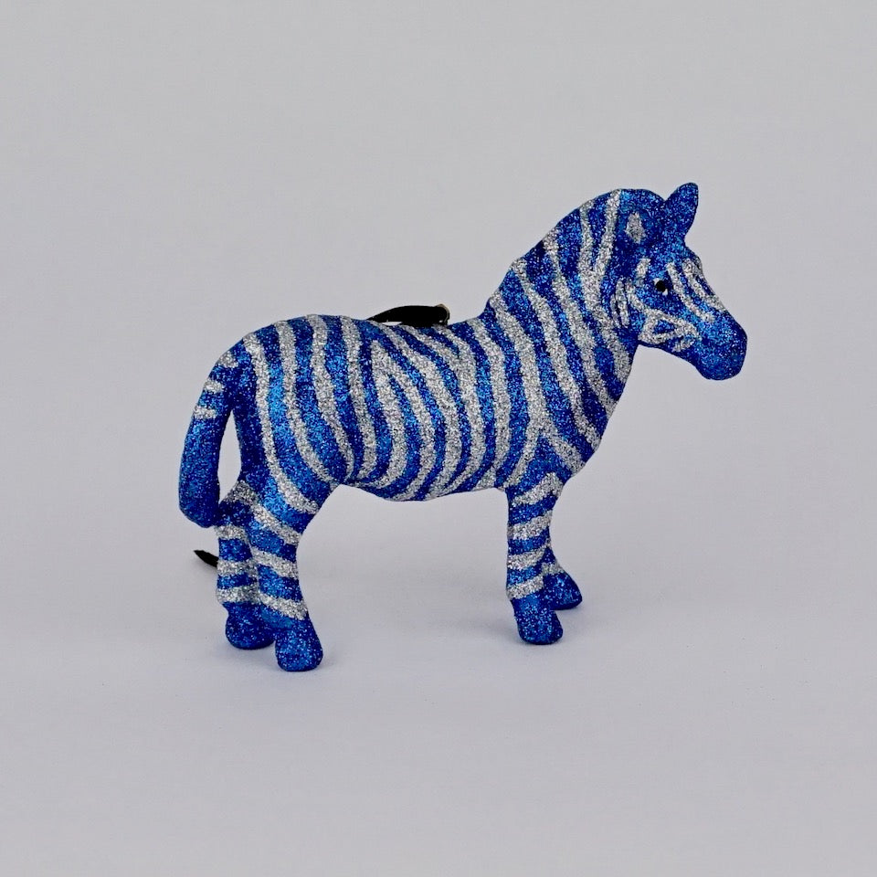 Glitter Zebra Ornament - Blue Bowl