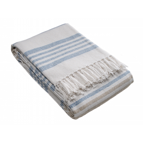 Stripe Cotton Throw - Blue Bowl