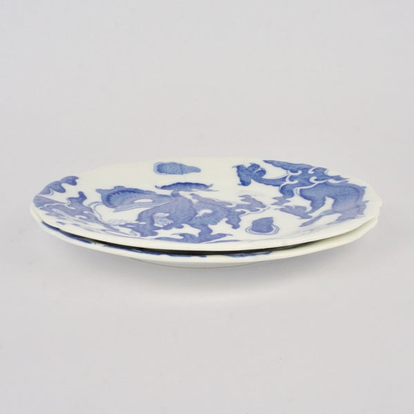 Pair of Dragon Side Plates - Blue Bowl