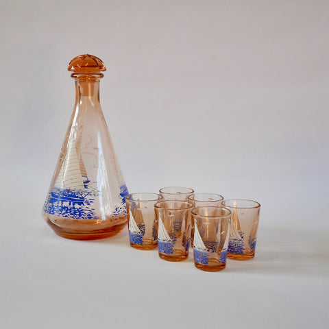 Vintage Decanter and Glasses - Blue Bowl