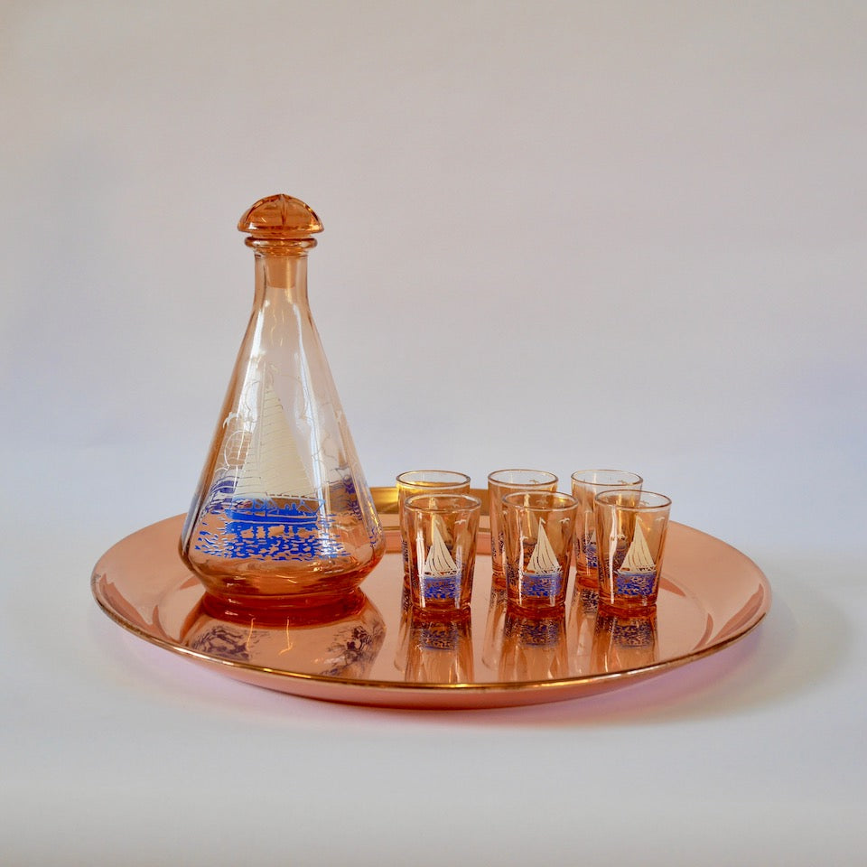 Decanter and Glasses - Blue Bowl