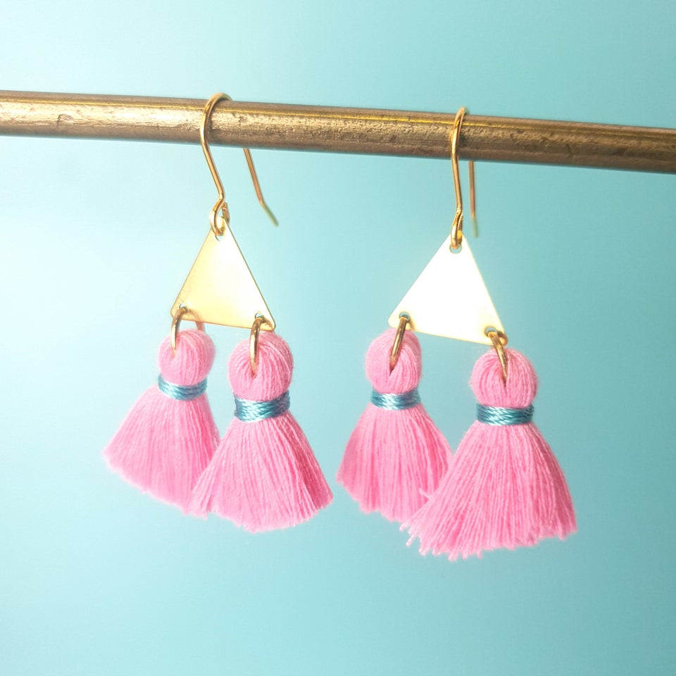 Double Tassel Triangle Earrings
