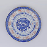 Hand Painted Dragon Side Plate - Blue Bowl
