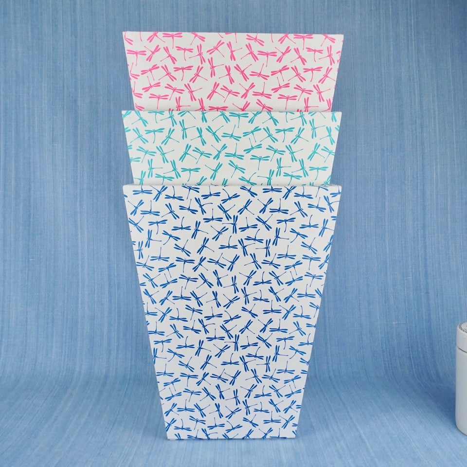 Dragonfly Waste Paper Bin - Blue Bowl