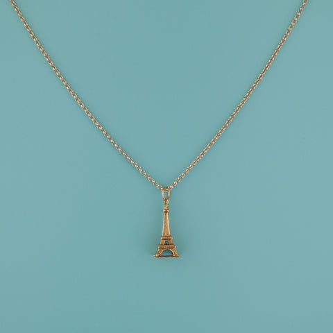 Eiffel Tower Gold Charm - Blue Bowl