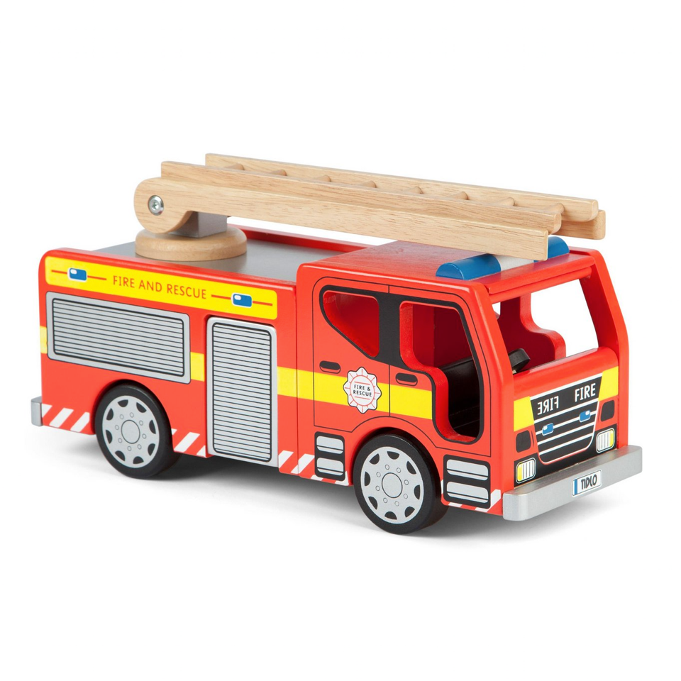 Wooden Fire Engine - Blue Bowl