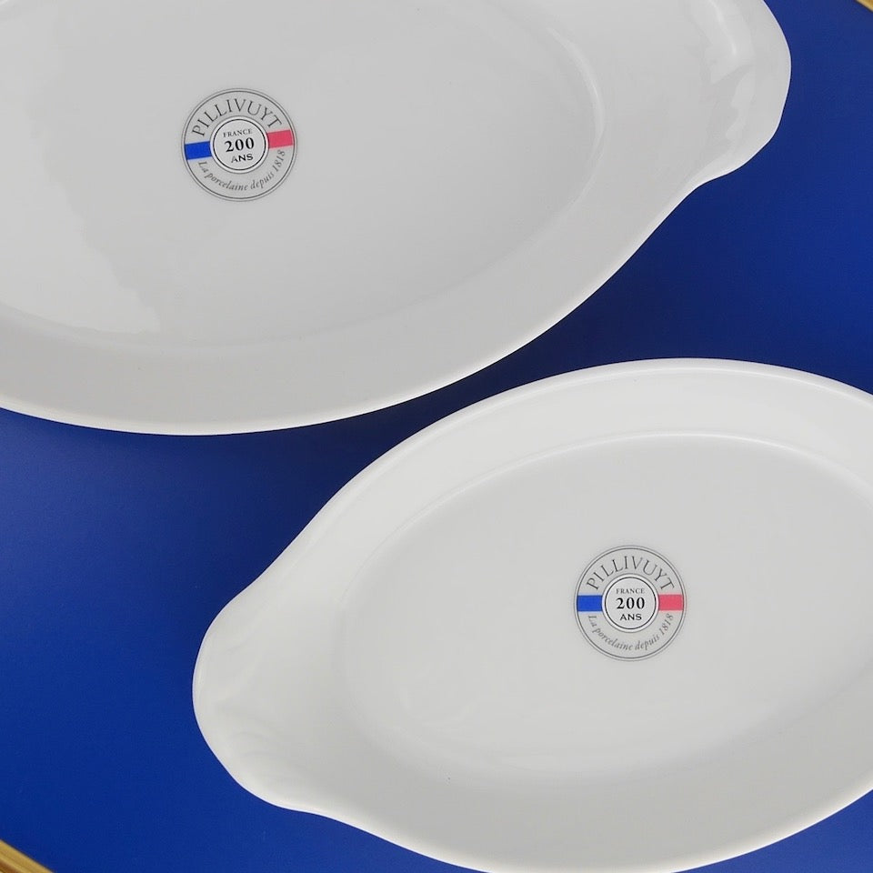 Pair of Oval Earred Dishes - Blue Bowl