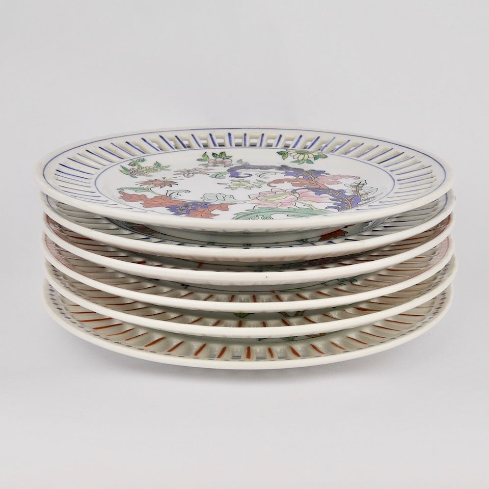 Set of Hand Painted Porcelain Plates - Blue Bowl