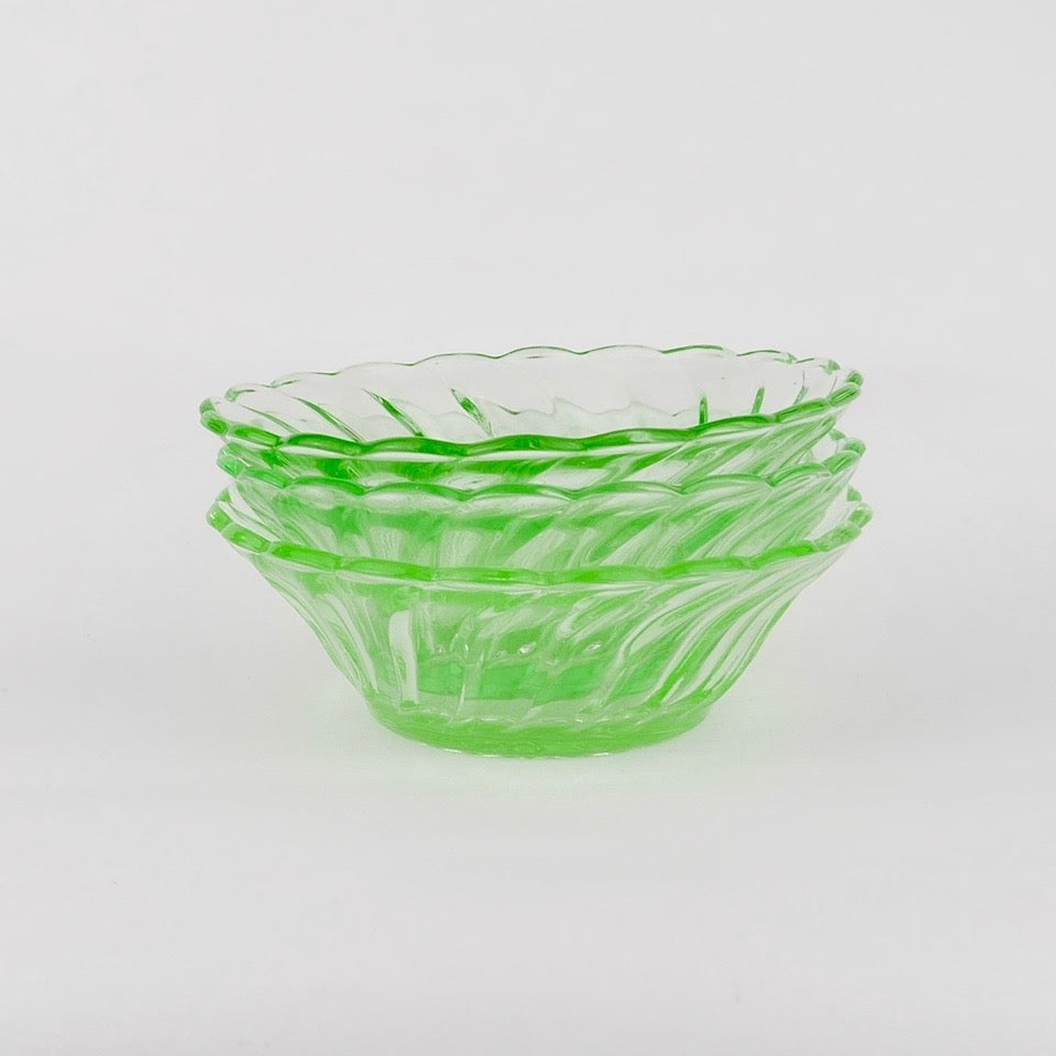 Green Glass Bowls - Blue Bowl