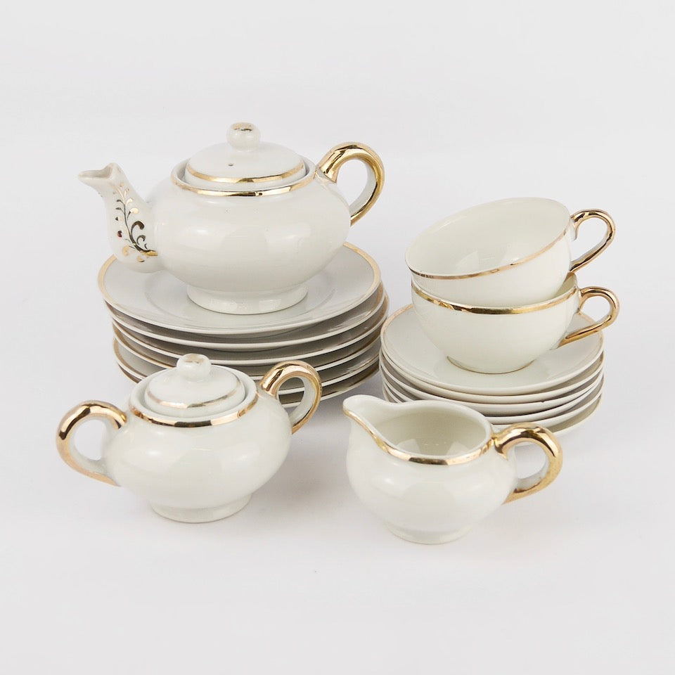 Gold Tea Set - Blue Bowl