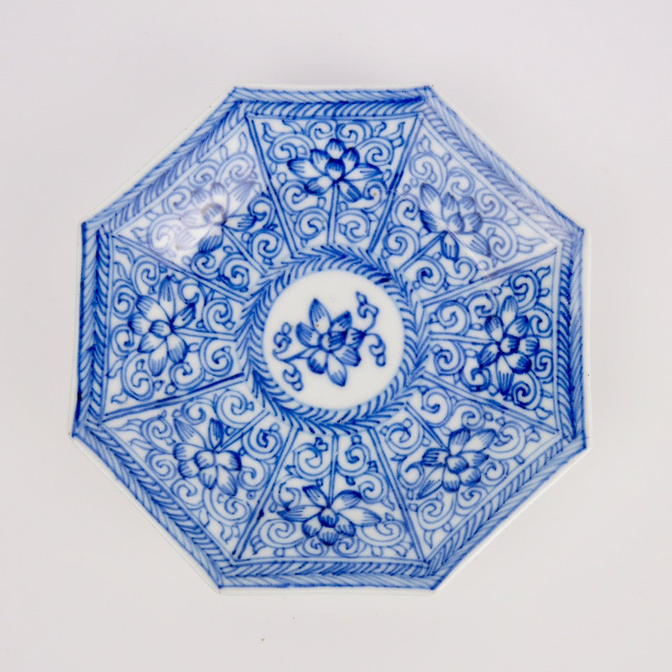 Small Blue & White Octagonal Plate - Blue Bowl