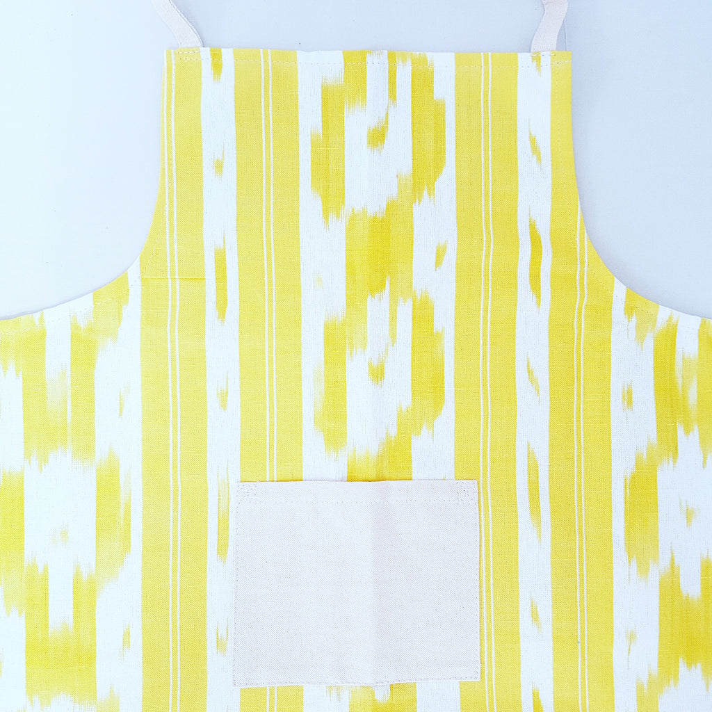 Ikat Apron with front pocket - Blue Bowl
