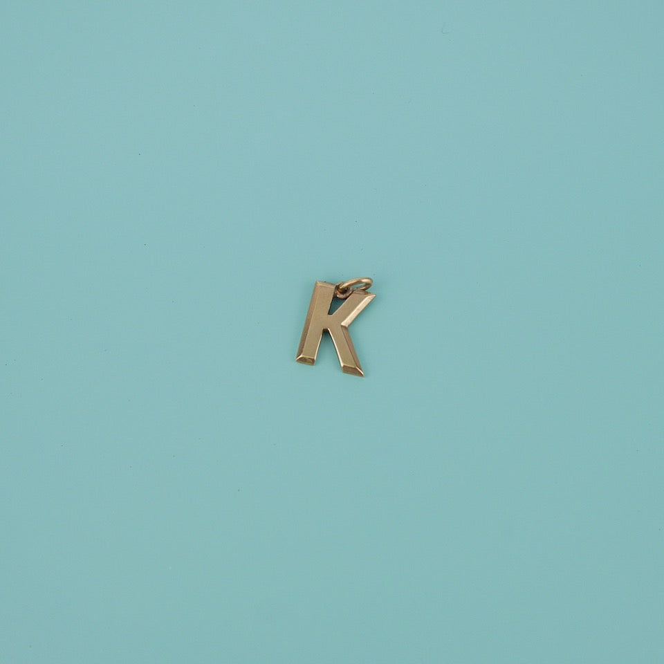 Gold Letter 'K' Charm - Blue Bowl