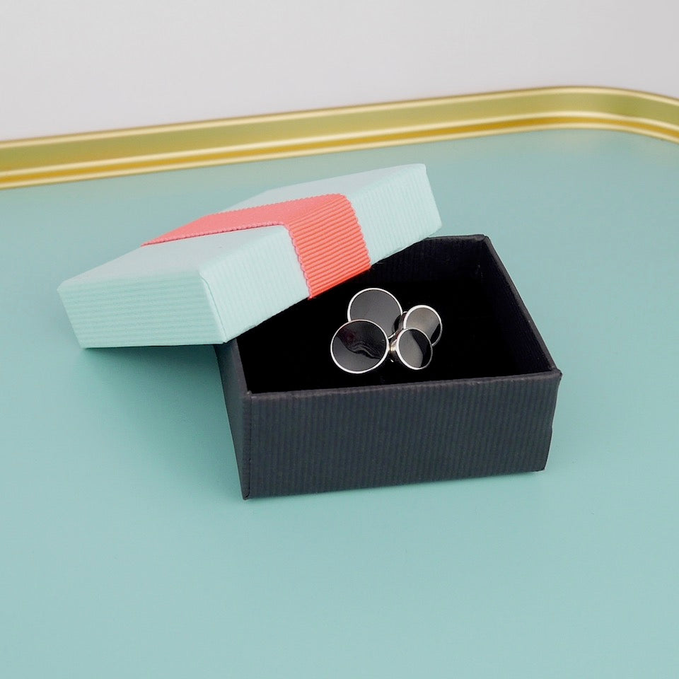 Onyx Silver Cufflinks - Blue Bowl