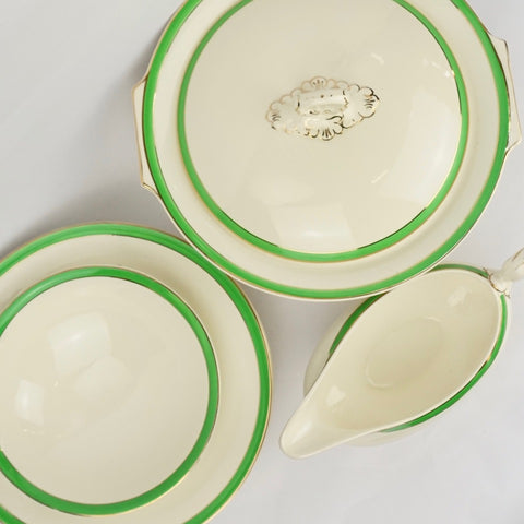 Green & White Art Deco China - Blue Bowl