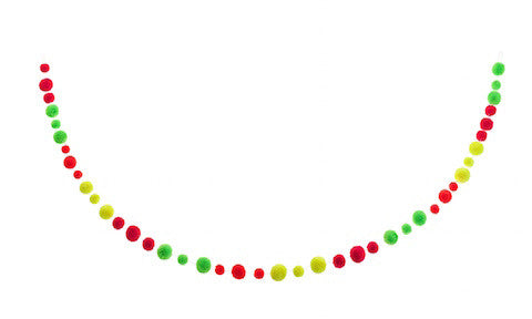Neon Pom Pom Garland - Blue Bowl