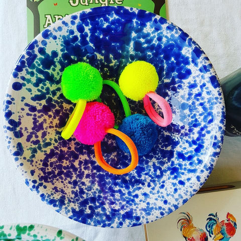 Pom Pom Hairties - Blue Bowl