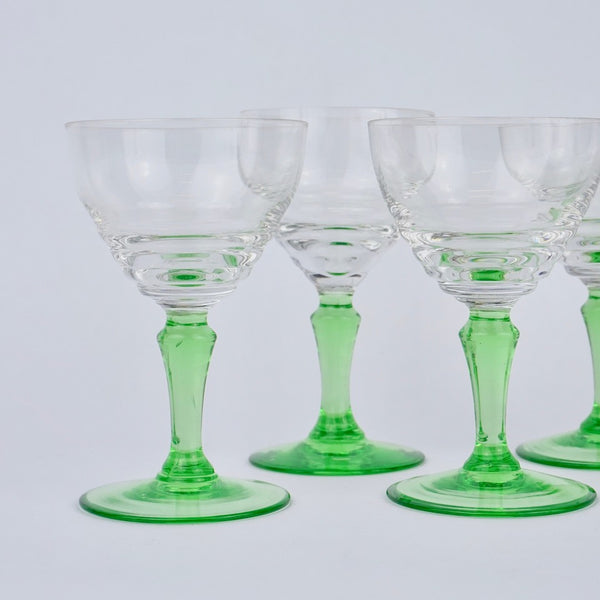 Green Stemmed Port Glasses - Blue Bowl