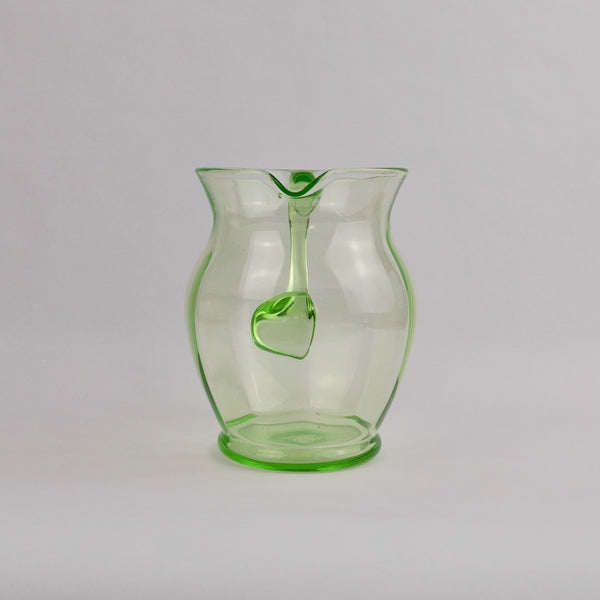 Round Green Glass Jug