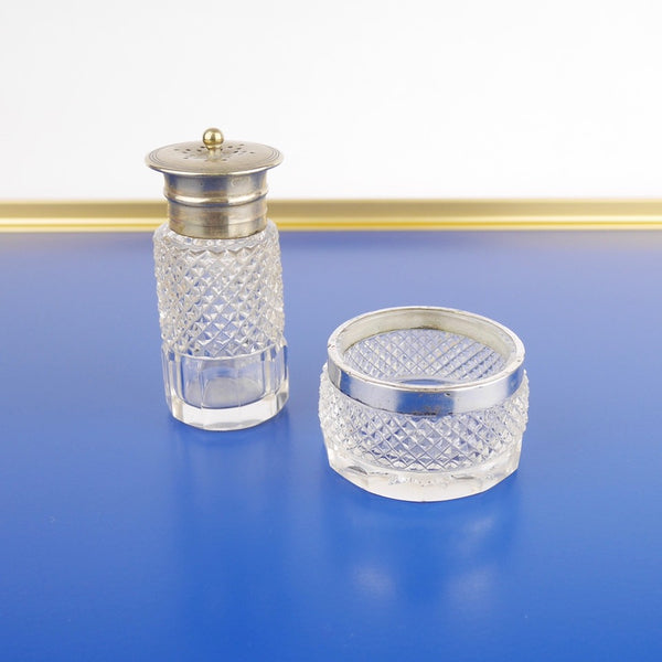Glass Salt Shaker and Dish