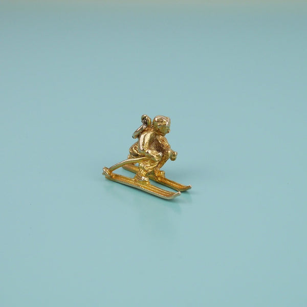 Skiing Gold Charm