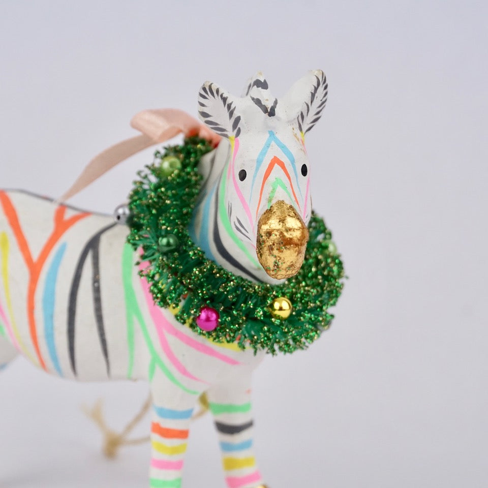 Multicoloured Zebra Ornament
